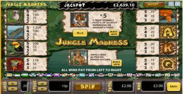 jungle madness paytable
