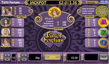 tarots fortune paytable