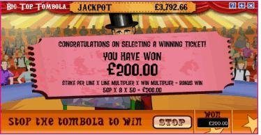 big top tombola bonus 2