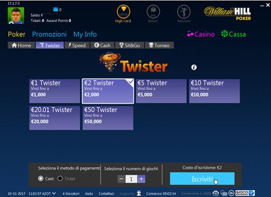 twister poker buy-in